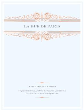French Menu Cover Menu Covers