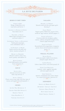 Customize French Menu Long