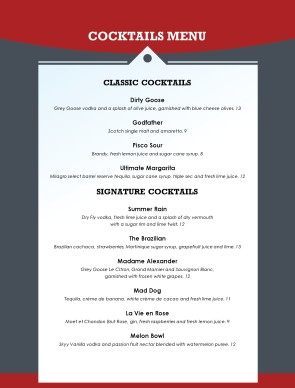 Customize Italian Family Bar Menu
