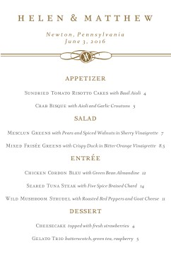 formal dinner party menu wedding archive