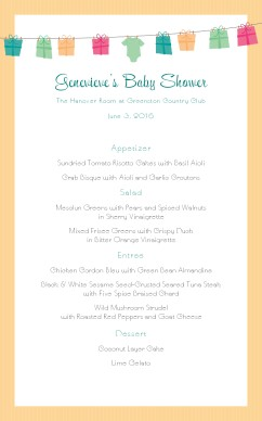 High Quality Customize Baby Shower Menu