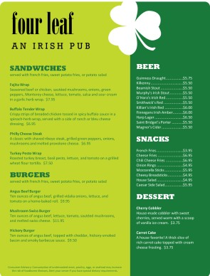 Irish pub menu irish menus for Irish menu templates