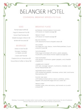 Customize Room Service Breakfast Menu
