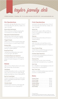 Customize Delicatessen Menu