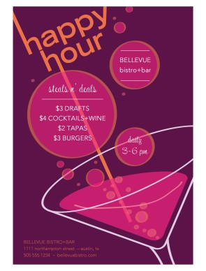 Browse 100's of self-service menu templates.: https://www.musthavemenus.com/wordtemplate/flyer-for-happy-hour.html