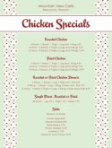 Chicken Specials Menu