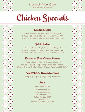Customize Chicken Specials Menu