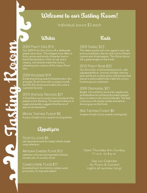 Customize Winery Restaurant Menu