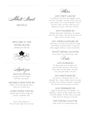 Customize Winery Tasting Menu