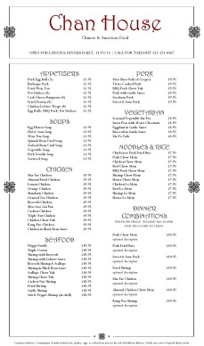 Traditional Chinese Menu Chinese Menus