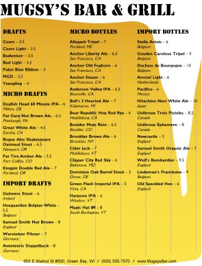 Beer List Menu | Bar Menus