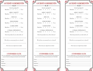 Customize Brasserie Comment Card