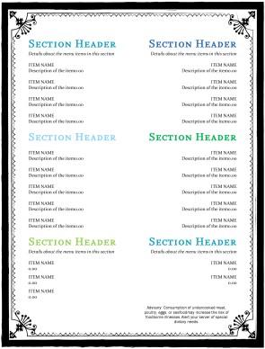 Beach cafe menu page simple menus for Simple html menu template