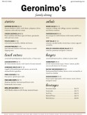 American Food Restaurant Menu
