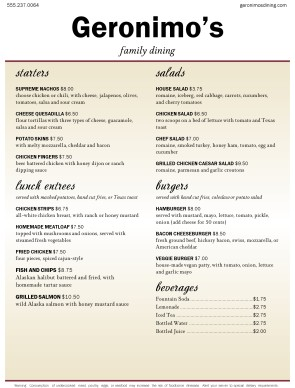 Customize American Food Restaurant Menu