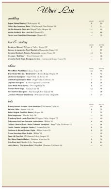 Customize American Wine List