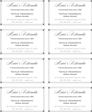 Fine Dining Business Card Marketing Archive
