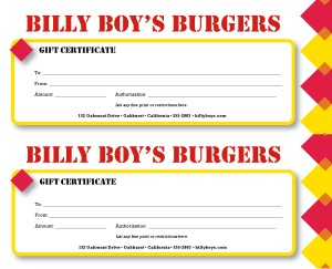 Burger restaurant gift certificate marketing archive customize burger restaurant gift certificate yadclub Images