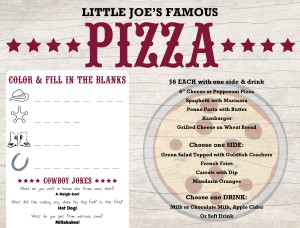 Customize Pizza Kids Menu