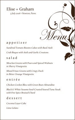 Customize Elegant Wedding Menu