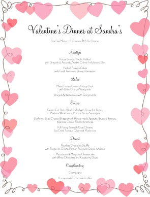 Day Hearts Menu | Valentine's Day Menus