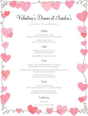 V Day Hearts Menu | Valentine's Day Menus