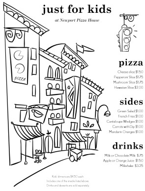 Customize Childrens Pizza Menu