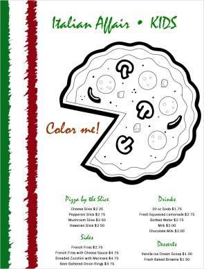 Pizza Coloring Menu Kids Menus