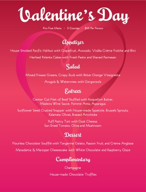 Valentines Day Tasting Menu Design Templates By