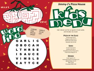 Customize Pizza for Kids Menu
