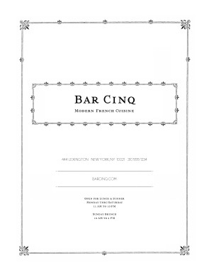 Customize Vintage Menu Cover