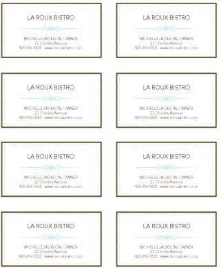 French restaurant business card marketing archive for French cafe menu template