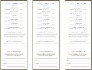 French Restaurant Comment Card | Marketing Archive