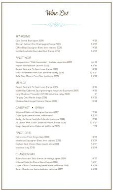 Customize French Wine List Menu