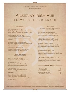 Customize Irish Tavern Menu