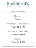 Restaurant Hours Sign
