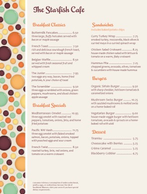 Customize Brunch Menu