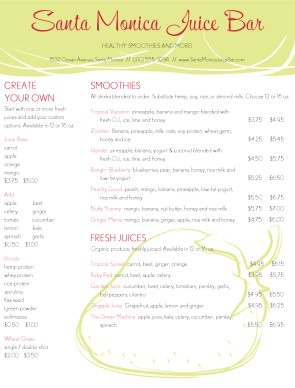 Customize Juice Bar Menu