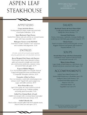 Customize Classic Steakhouse Menu