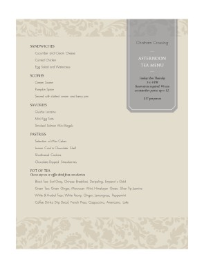 Customize Afternoon Tea Menu