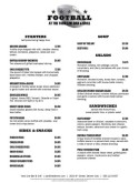 Sportsbar Football Menu