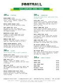 Football Restaurant Menu