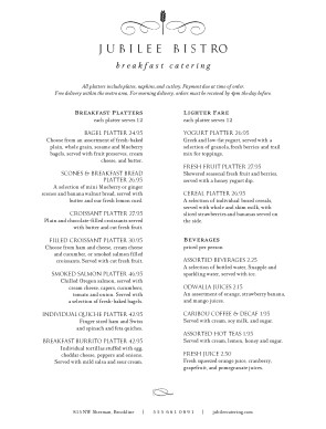 Customize Breakfast Service Catering Menu