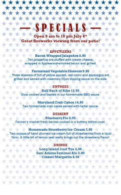 Independence day restaurant menu 4th of july menus for 4th of july menu template