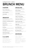 Restaurant Brunch Menu
