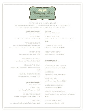 Customize Thanksgiving Catering Menu