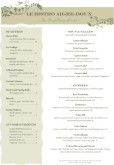 A4 French Bistro Menu