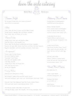 Customize Catered Wedding Cake Menu Page