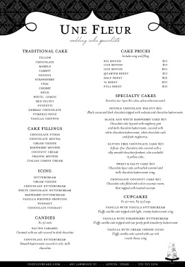 Black And White Catering Menu A4 A4 Menus