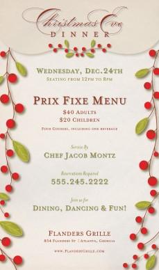Prix Fixe Christmas Flyer Christmas Flyer